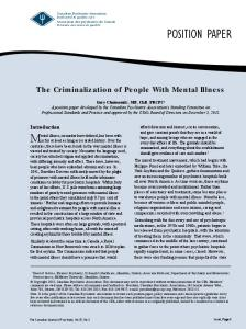 The Criminalization of People With Mental Illness