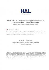 The CUIDADO Project : New Applications based on Audio and Music Content Description