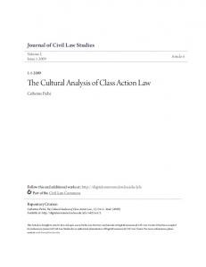 The Cultural Analysis of Class Action Law
