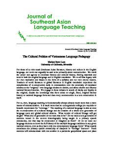 The Cultural Politics of Vietnamese Language Pedagogy