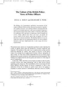 The Culture of the British Police: Views of Police Officers