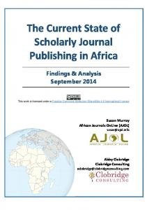 The Current State of Scholarly Journal Publishing in Africa