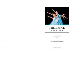 THE DANCE FACTORY PROGRAM HANDBOOK FOUNDED BY SHERI TOWNER-GABRELCIK