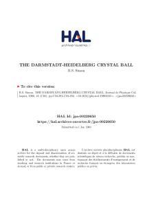 THE DARMSTADT-HEIDELBERG CRYSTAL BALL