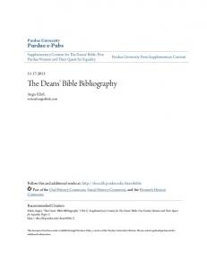 The Deans' Bible Bibliography