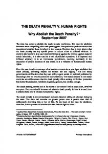 THE DEATH PENALTY V. HUMAN RIGHTS. Why Abolish the Death Penalty? 1 September 2007