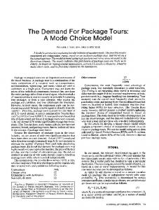 The Demand For Package Tours: