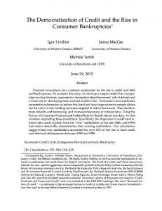 The Democratization of Credit and the Rise in Consumer Bankruptcies