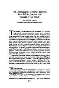The Demographic Contrast between Slave Life in Jamaica and Virginia,