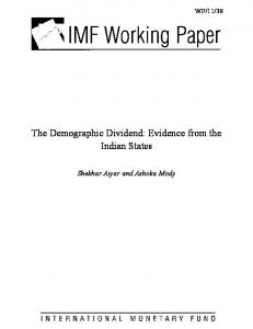 The Demographic Dividend: Evidence from the Indian States