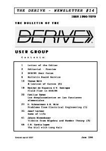 THE DERIVE - NEWSLETTER #14