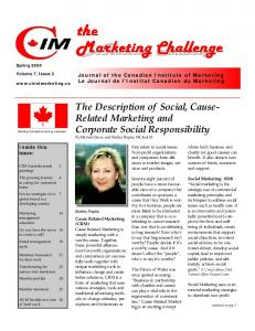 The Description of Social, Cause- Related Marketing and Corporate Social Responsibility By Michael Skory and Shelley Repka, MCInst