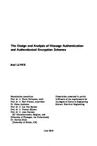 The Design and Analysis of Message Authentication and Authenticated Encryption Schemes