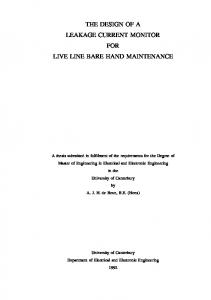 THE DESIGN OF A LEAKAGE CURRENT MONITOR FOR LIVE LINE BARE HAND MAINTENANCE
