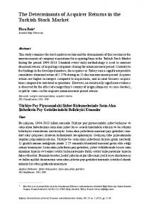 The Determinants of Acquirer Returns in the Turkish Stock Market