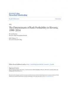 The Determinants of Bank Profitability in Slovenia,