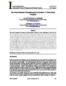 The Determinants of Employment in Jordan: A Time Series Analysis