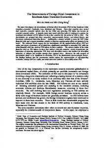 The Determinants of Foreign Direct Investment in Southeast Asian Transition Economies