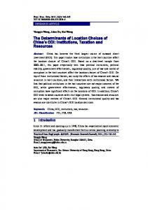 The Determinants of Location Choices of China s ODI: Institutions, Taxation and Resources