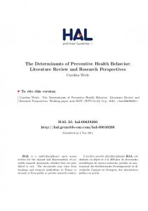 The Determinants of Preventive Health Behavior: Literature Review and Research Perspectives