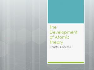 The Development of Atomic Theory. Chapter 4, Section 1