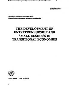 THE DEVELOPMENT OF ENTREPRENEURSHIP AND SMALL BUSINESS IN TRANSITIONAL ECONOMIES