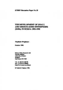 THE DEVELOPMENT OF SMALL AND MEDIUM SIZED ENTERPRISES (SMEs) IN RUSSIA