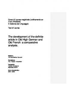The development of the definite article in Old High German and Old French: a comparative analysis