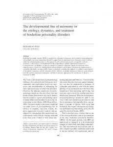 The developmental line of autonomy in the etiology, dynamics, and treatment of borderline personality disorders