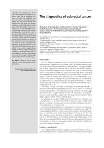 The diagnostics of colorectal cancer