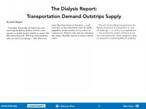 The Dialysis Report: Transportation Demand Outstrips Supply