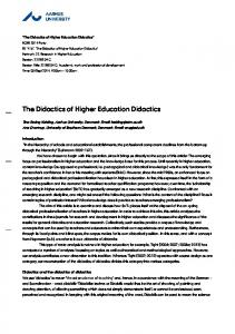 The Didactics of Higher Education Didactics