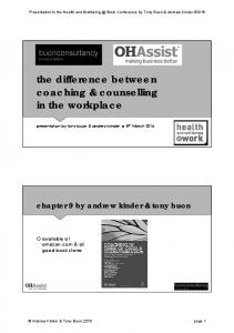 the difference between coaching & counselling in the workplace