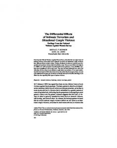 The Differential Effects of Intimate Terrorism and Situational Couple Violence