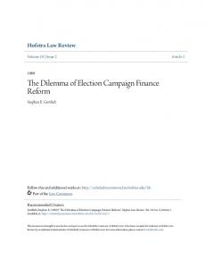 The Dilemma of Election Campaign Finance Reform