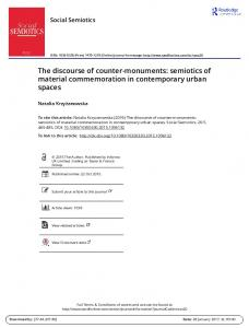 The discourse of counter-monuments: semiotics of material commemoration in contemporary urban spaces