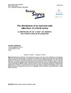 The distribution of ser and estar with adjectives: A critical survey