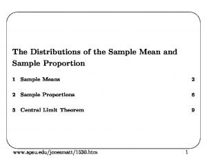 The Distributions of the Sample Mean and Sample Proportion