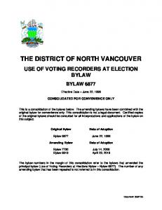 THE DISTRICT OF NORTH VANCOUVER