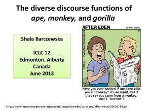 The diverse discourse functions of ape, monkey, and gorilla