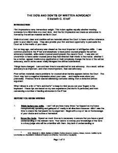 THE DO S AND DON TS OF WRITTEN ADVOCACY Elizabeth G. Elliott 1