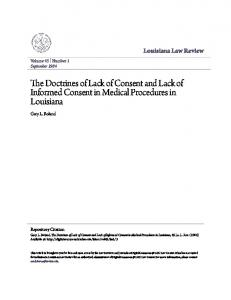 The Doctrines of Lack of Consent and Lack of Informed Consent in Medical Procedures in Louisiana