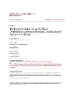 The Doha Round of the World Trade Organization: Appraising Further Liberalization of Agricultural Markets