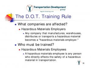 The D.O.T. Training Rule