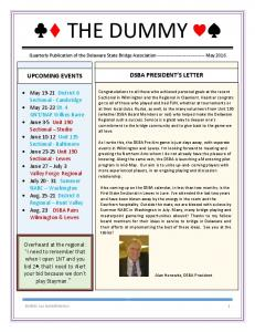 THE DUMMY DSBA PRESIDENT S LETTER UPCOMING EVENTS
