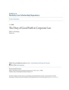The Duty of Good Faith in Corporate Law