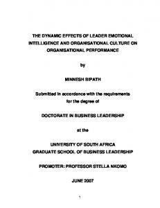 THE DYNAMIC EFFECTS OF LEADER EMOTIONAL INTELLIGENCE AND ORGANISATIONAL CULTURE ON ORGANISATIONAL PERFORMANCE MINNESH BIPATH