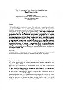 The Dynamics of the Organizational Culture in a Municipality