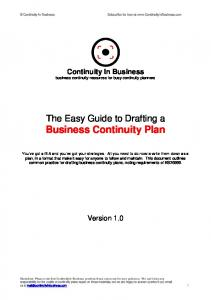 The Easy Guide to Drafting a Business Continuity Plan