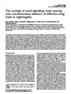 The ecology of vocal signaling: male spacing and communication distance of different song traits in nightingales